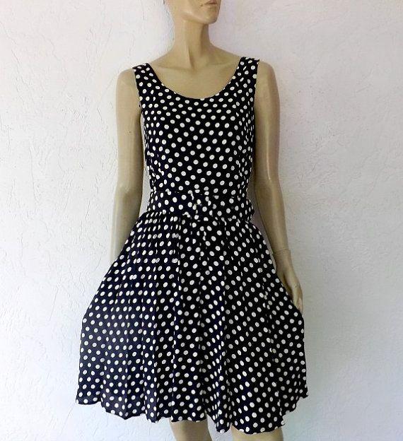 Vintage Dress 80's Polka Dot Dress Black
