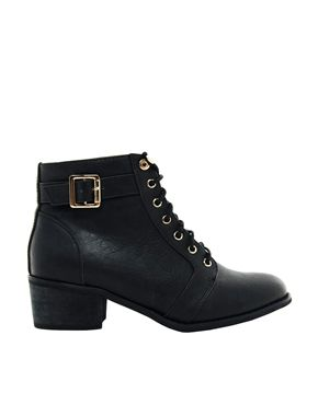 Low Heel Lace Up Boots