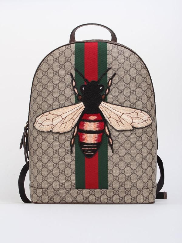 7251b769c Beige/ebony GG supreme canvas backpack with green/red/green Web and  embroidered bee appliqué, black leather trims, black mesh back, interior  smartphone ...