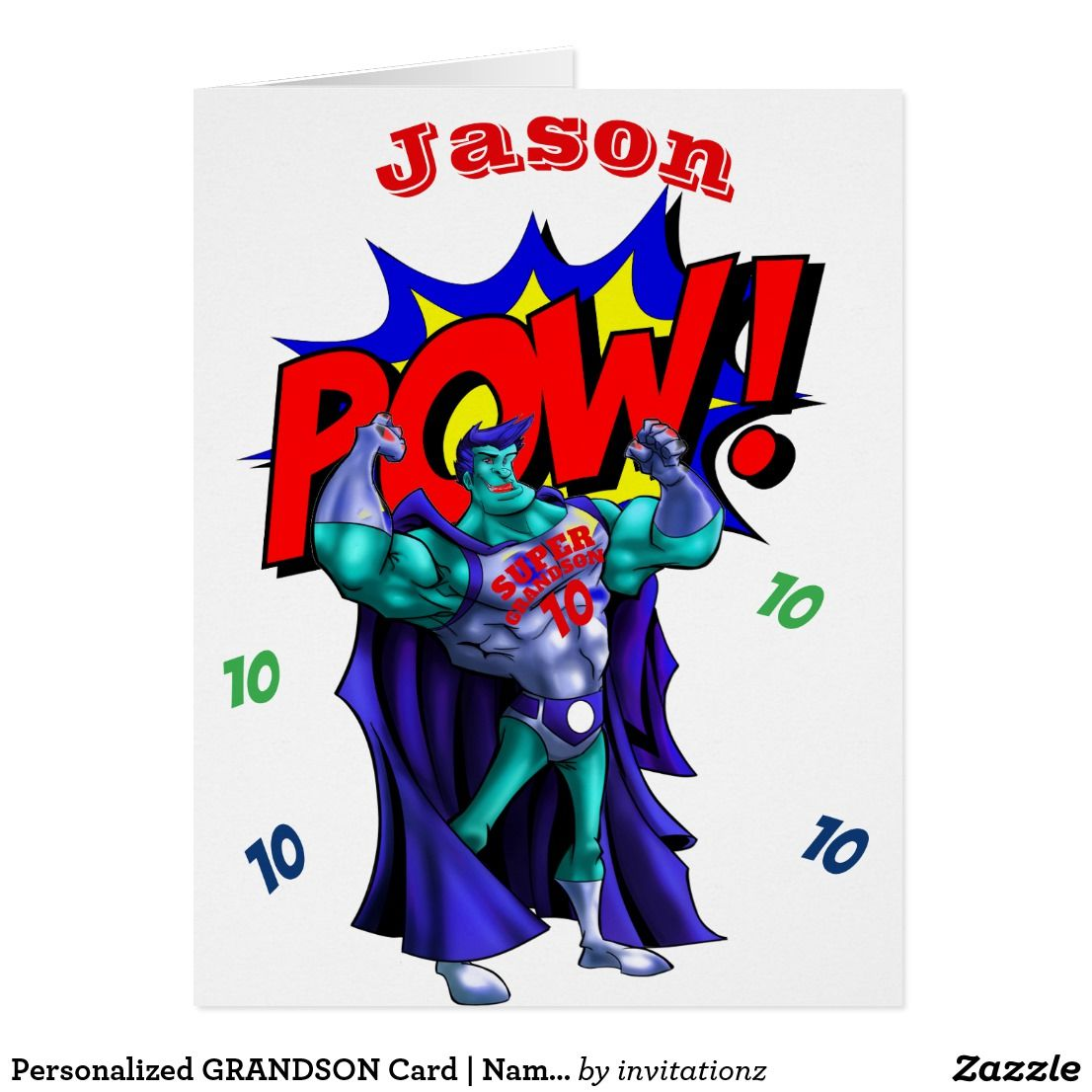 Personalized GRANDSON Card | Name AGE | SUPERHEROs