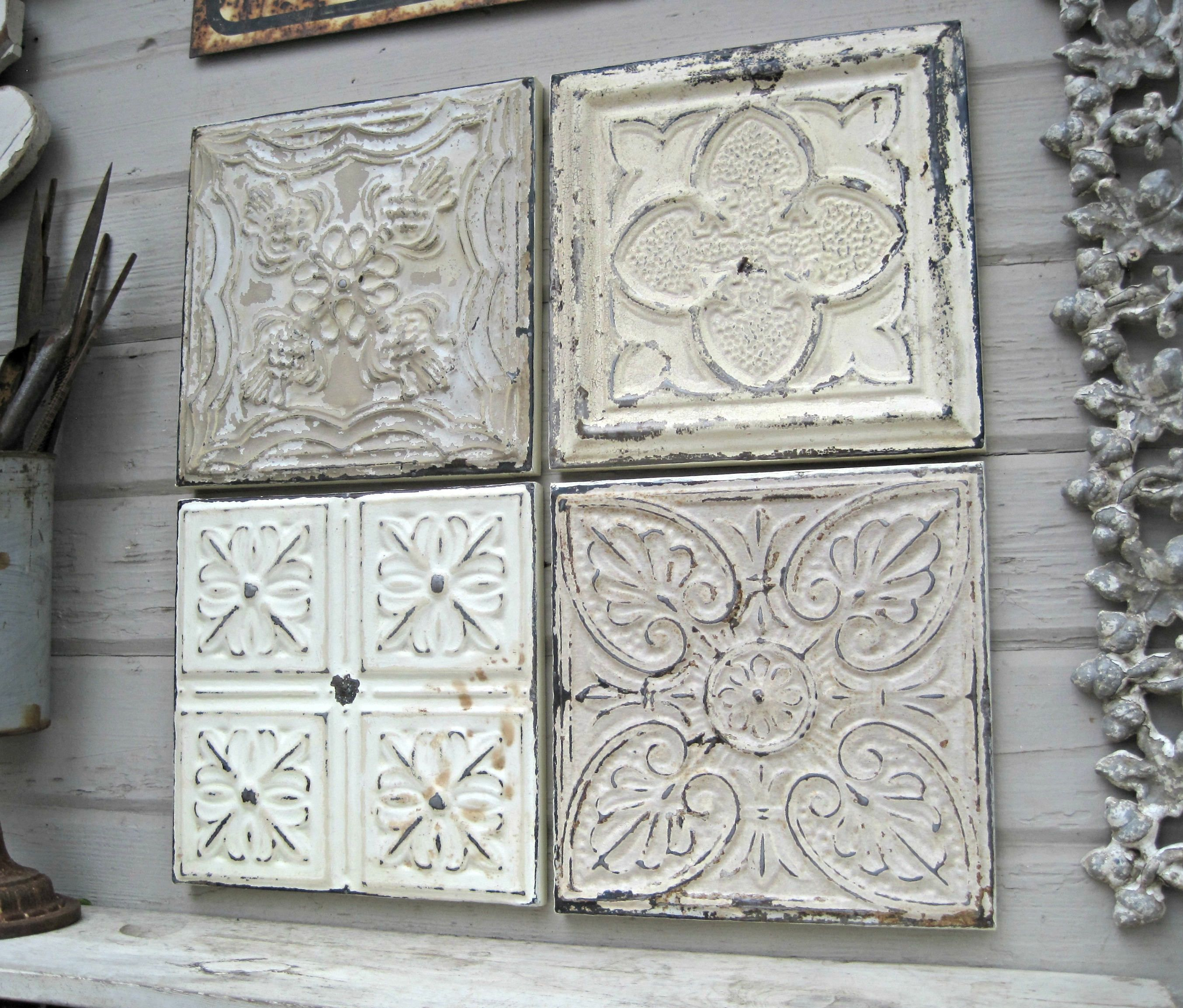 Rustic Wall Decor Antique Architectural Salvage 4 Framed Ceiling Tin Tiles Farmhouse Decor Chippy Paint Vint Antique Wall Decor Fish Wall Decor Wall Decor