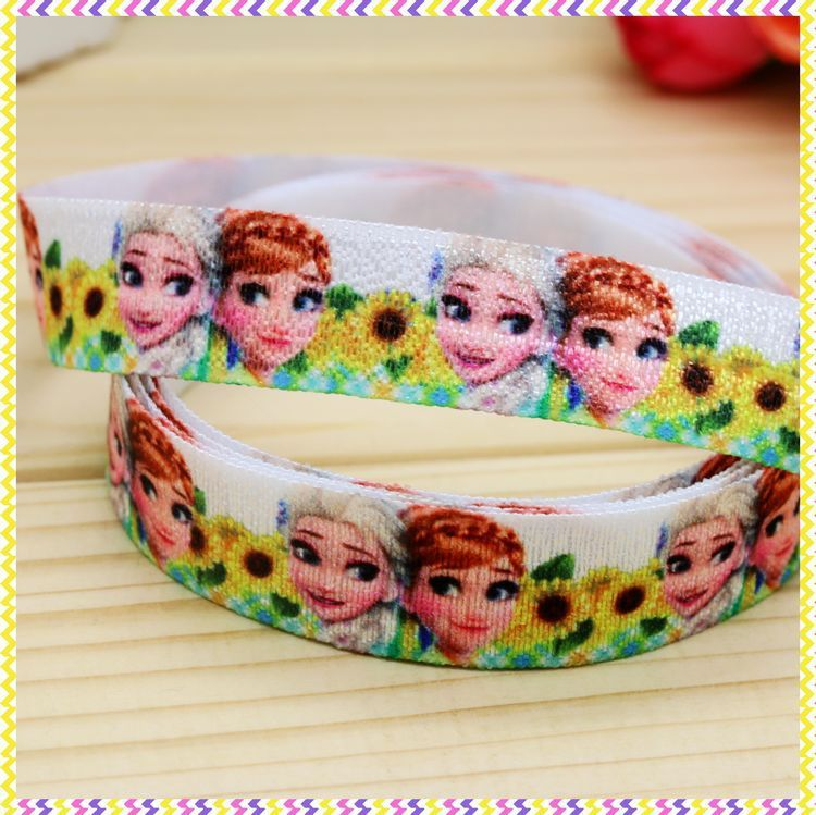 5/8'' Free shipping Fold Over Elastic FOE cartoon printed headband headwear hair band diy decoration wholesale OEM B945