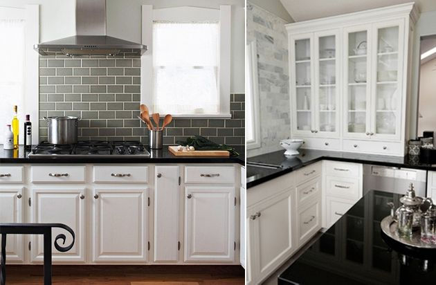 Backsplashes That Coordinate With White Cabinets And Black Granite How To Pair Countertops Backsplash