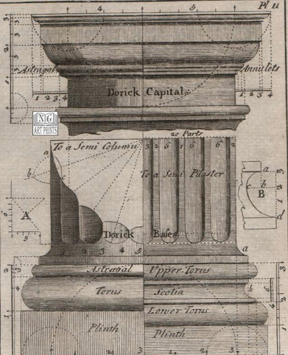 Greek Architecture Drawing 1700s antique architecture print, greek doric column cross section