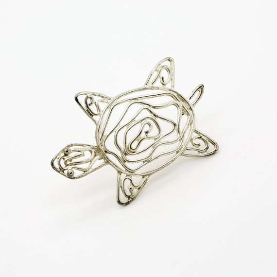 Good Fortune Happiness Brooch Sea Turtle Vintage Pin Tropical Animal