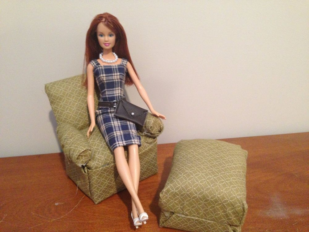 Handmade Blue Plaid Barbie Dress