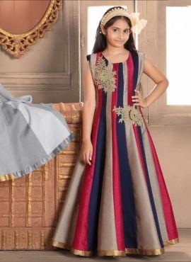 04037aab992 Banarasi Silk Strips Designs Kids Wear Birthday Gown For Girl ...