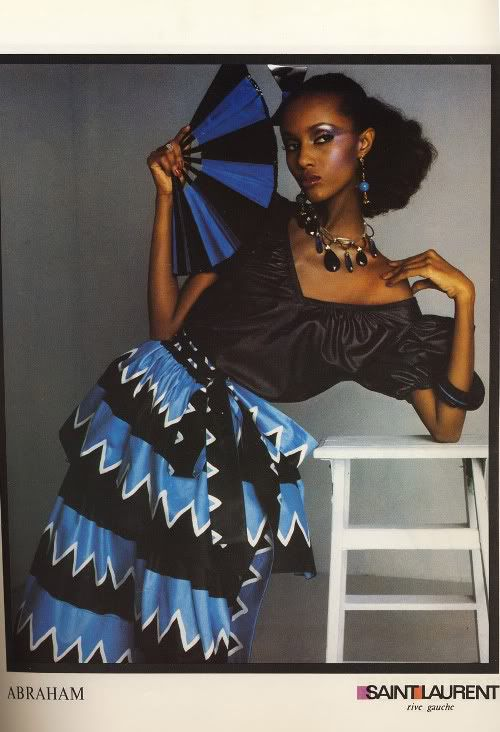 Iman in Yves Saint Laurent ads. Scanned from Vogue Paris, February 1980.