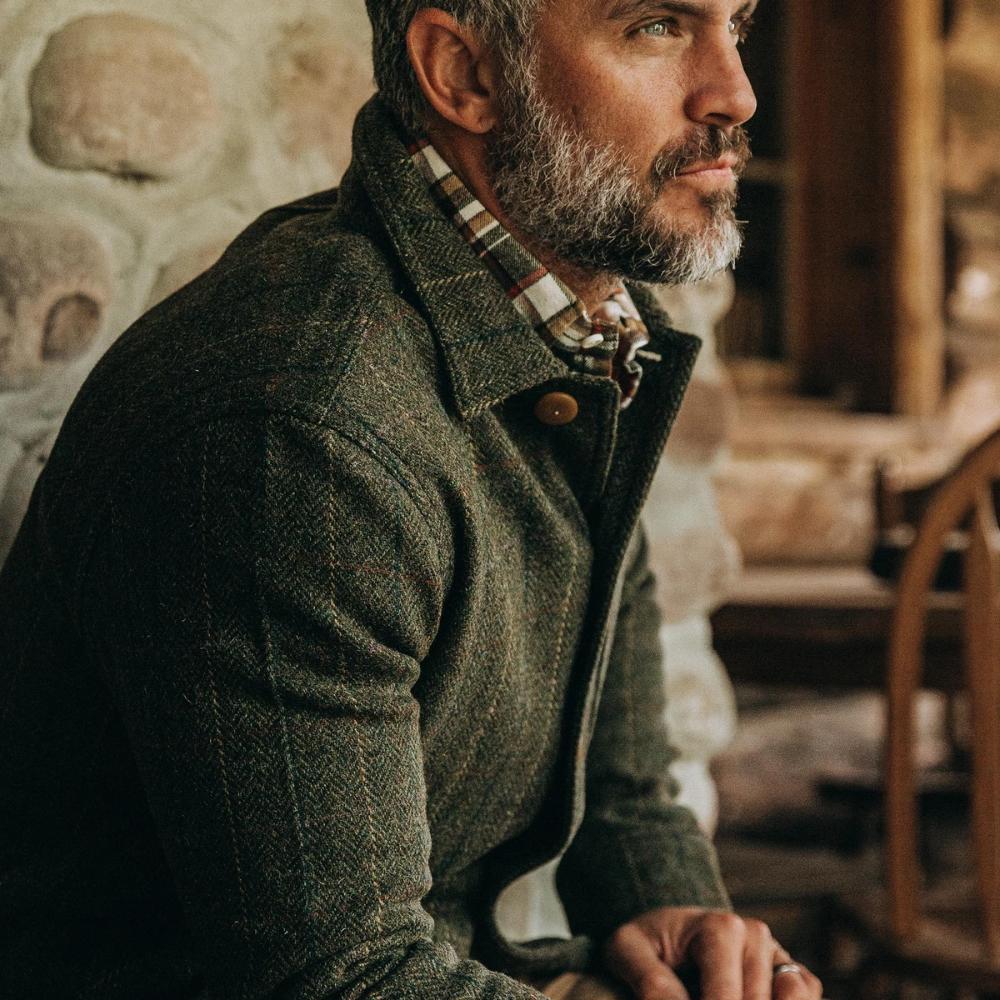 The Ojai Jacket In Olive Tweed Herringbone In 2021 Tweed Men Herringbone Shirt Mens Fashion Rugged [ 1000 x 1000 Pixel ]