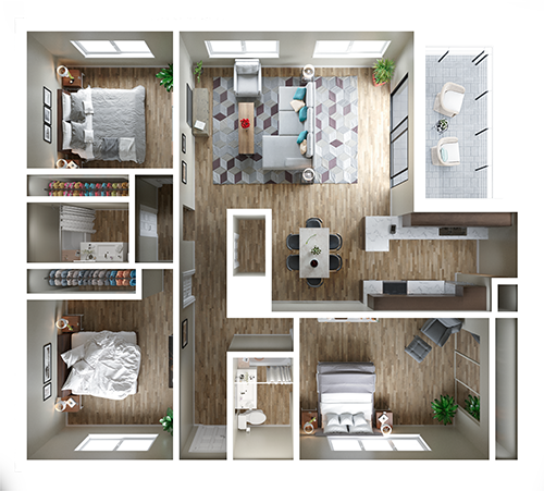 Three Bedroom 3d Floor Plan Top View 3d Floor Plans Floorplans 3d 3dfloorplans Small Apartment Floor Plans Home Room Design Sims House Design