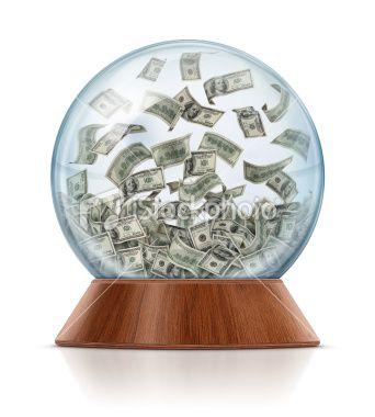 Money in Snow Globe