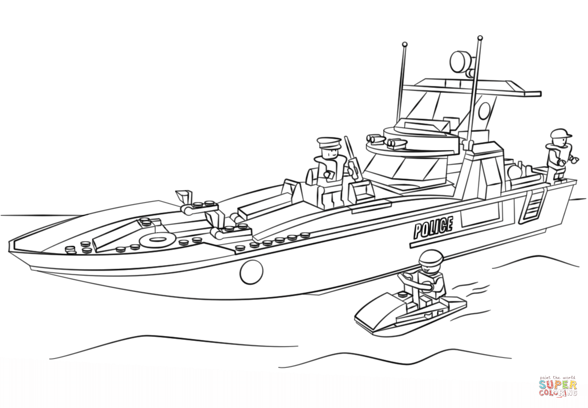 lego-police-boat-coloring-page.png (1186×824) | Coloring Pages ...