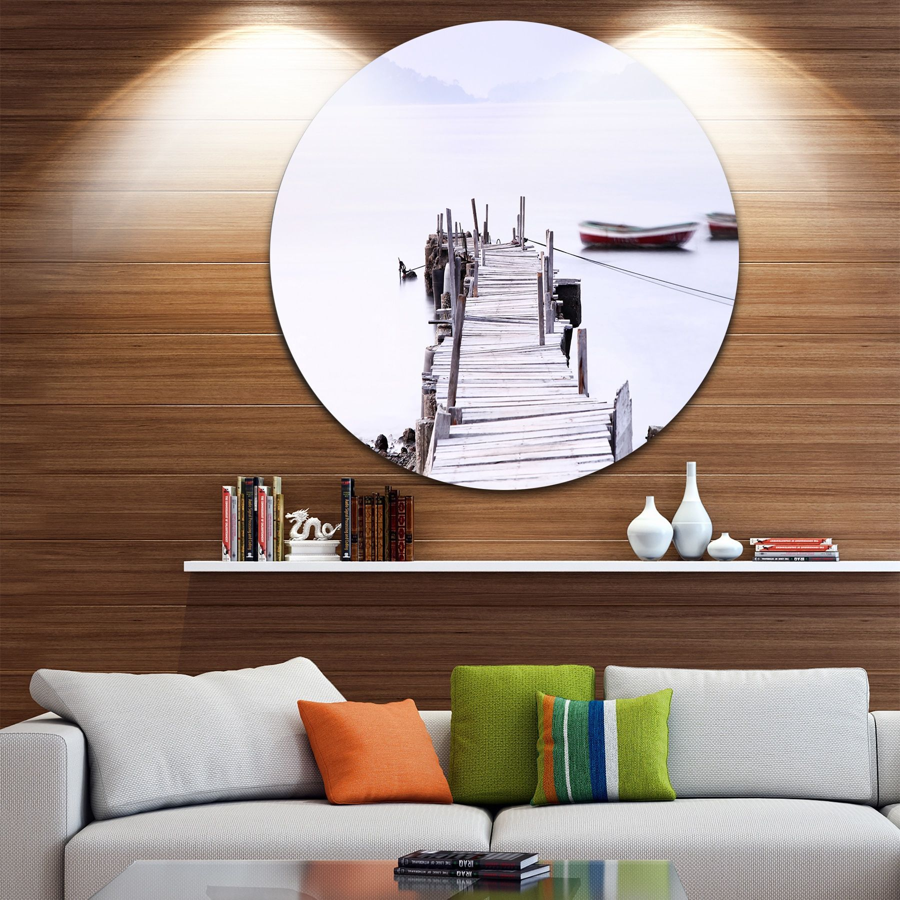 Designart 'Foggy Sea with Pier and Boats' Seascape Photo Disc Metal Wall art