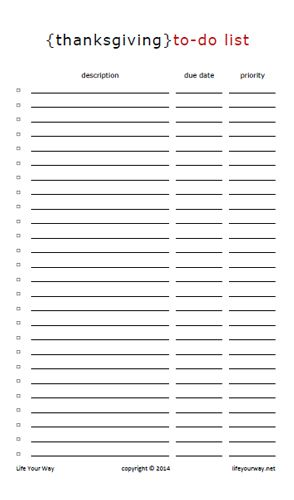 Thanksgiving} Master To-Do List (Half Sheet Thanksgiving