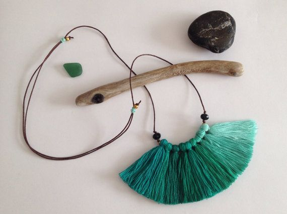 Bird's wing teal and mint Ombre fiber tassel necklace by NinaPaco