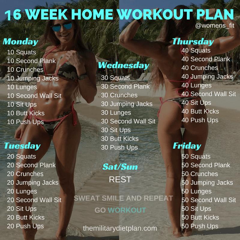 16 week home workout plan workouts