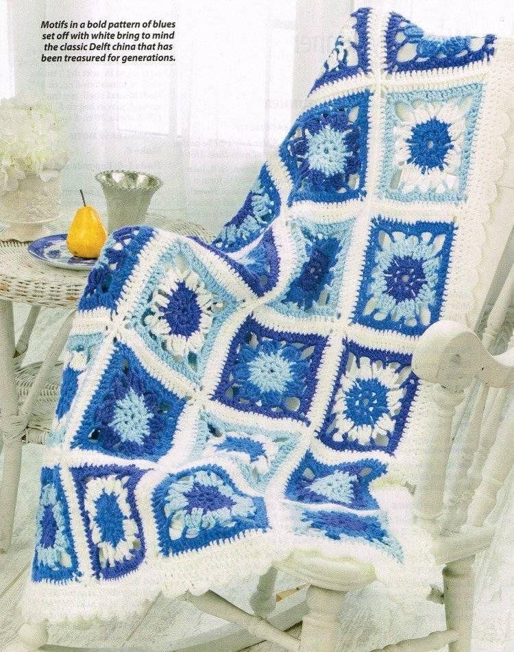 Beautiful China Blue Afghan Crochet Pattern Blanket Throw