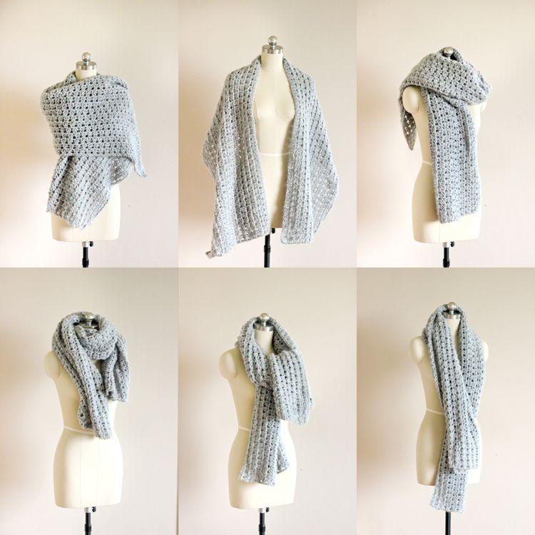 Crochet Shawl Scarf (Free Pattern) // Delia Creates | Crochet ...