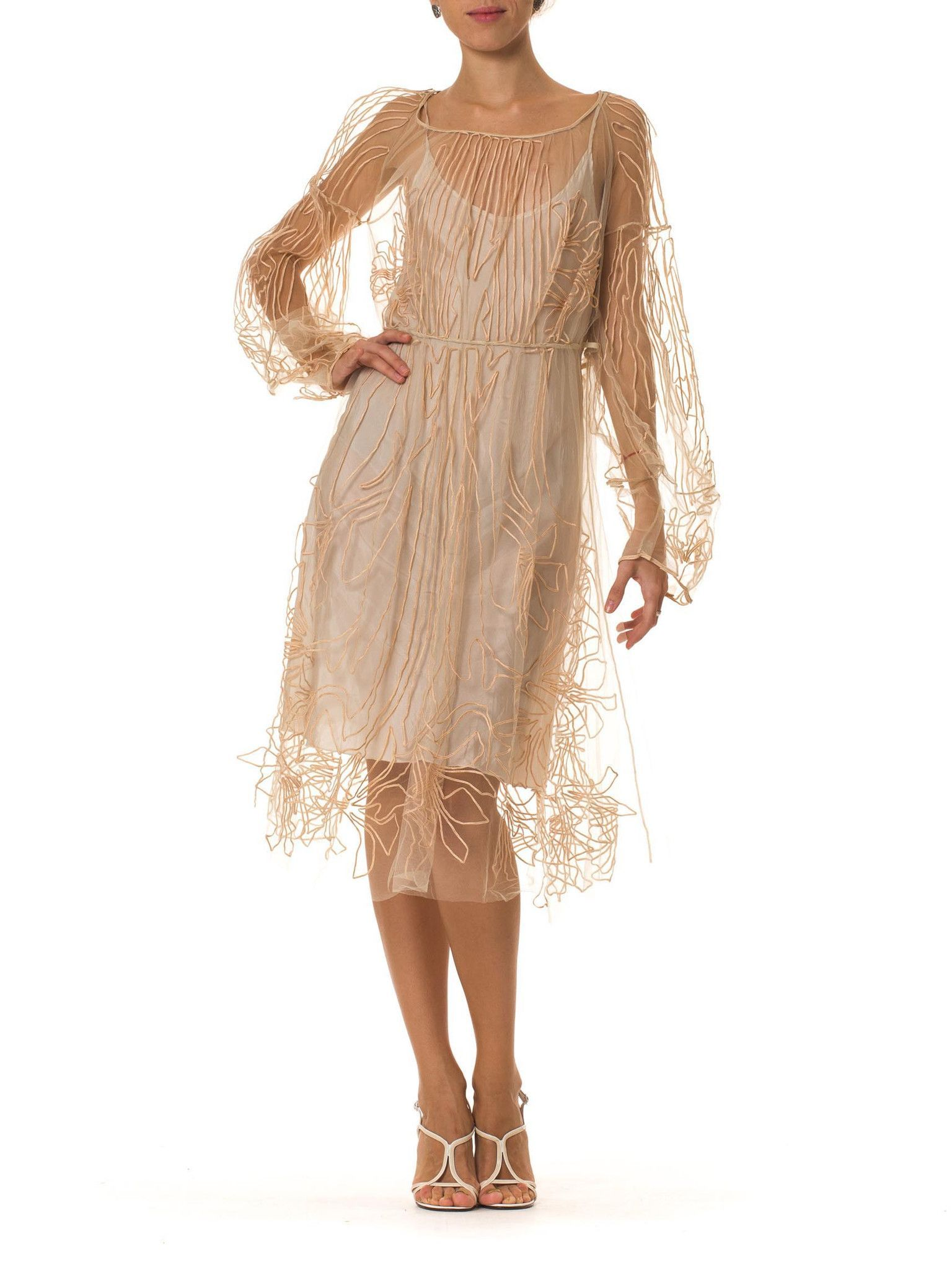 S style embroidered net dress s style s and silk slip