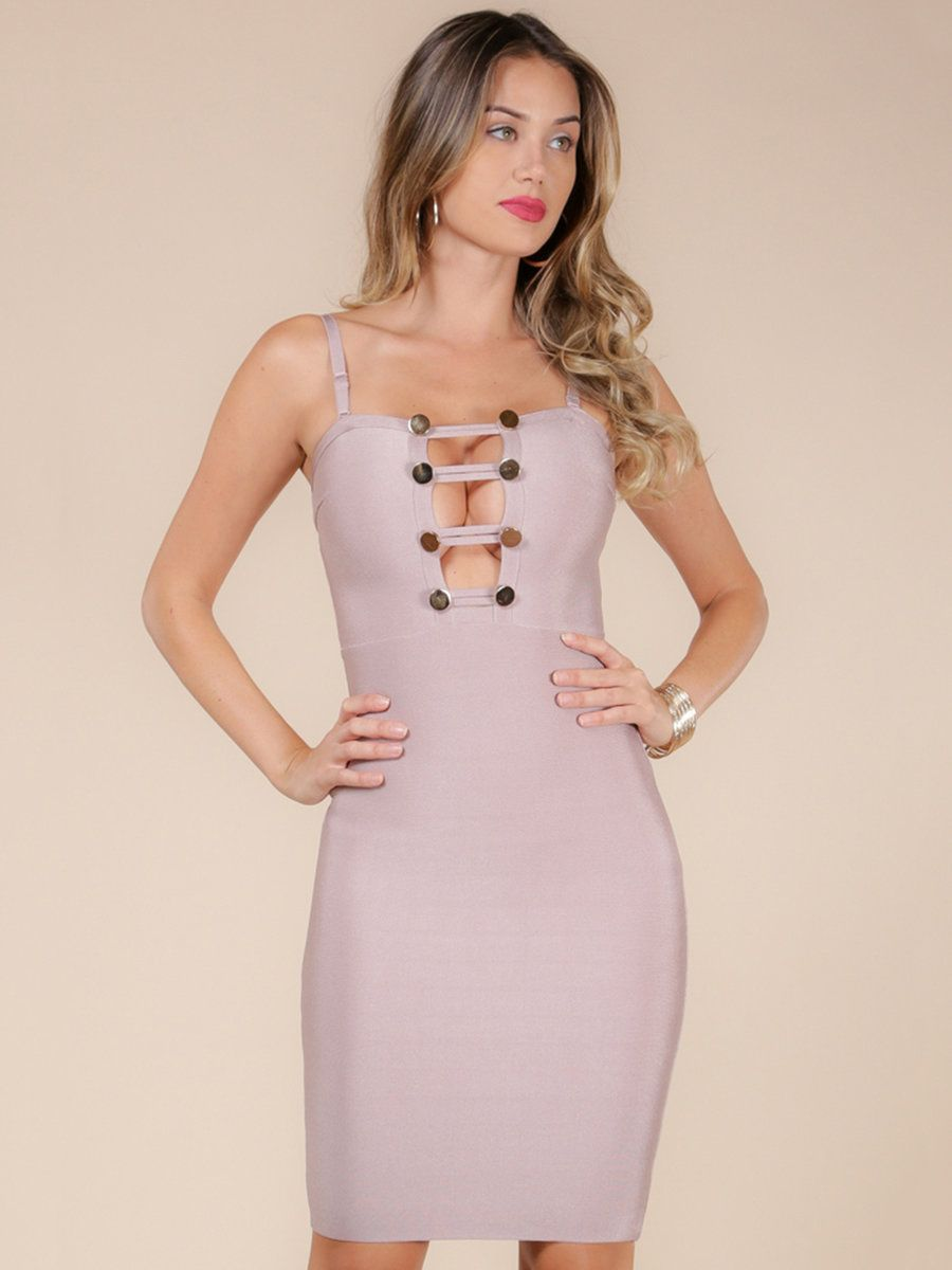 Adorewe stylewe wow couture pink solid cutout sexy polyester