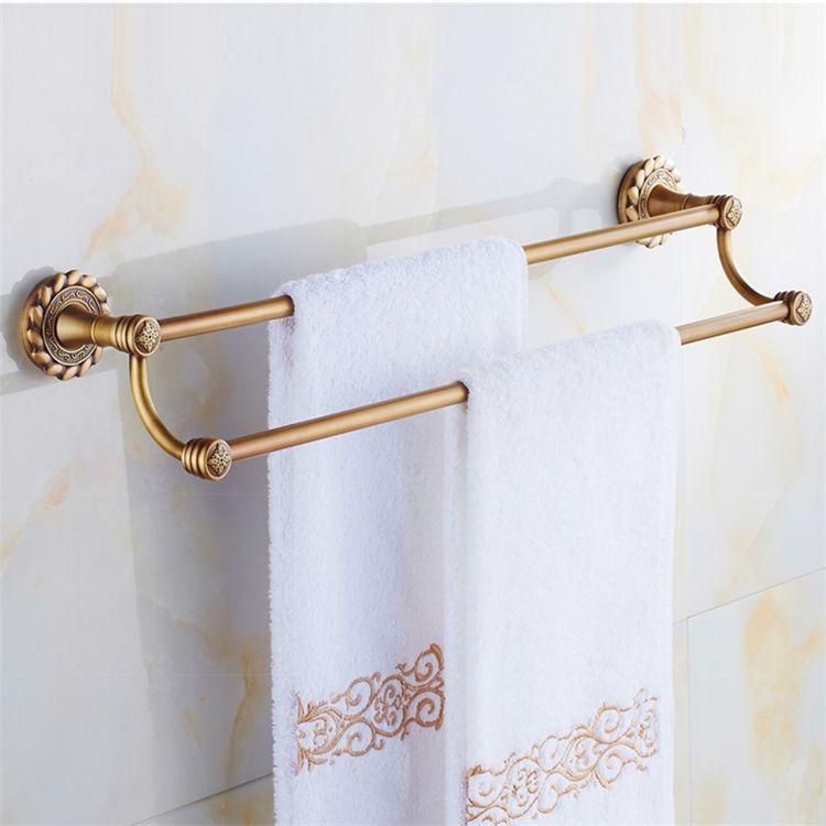 浴室二重タオルバー タオル掛け タオル収納 ハンガー バス用品 真鍮製