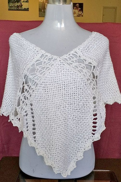 poncho en seda negro calado a crochet   Crochet   Pinterest   Croché ...