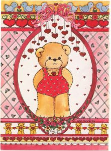 LUCY AND ME TEDDY BEAR VALENTINE – PAPER DOLL CARD    Lucy and Me card number 135PB-5   c. 1982 {} 1 of 3