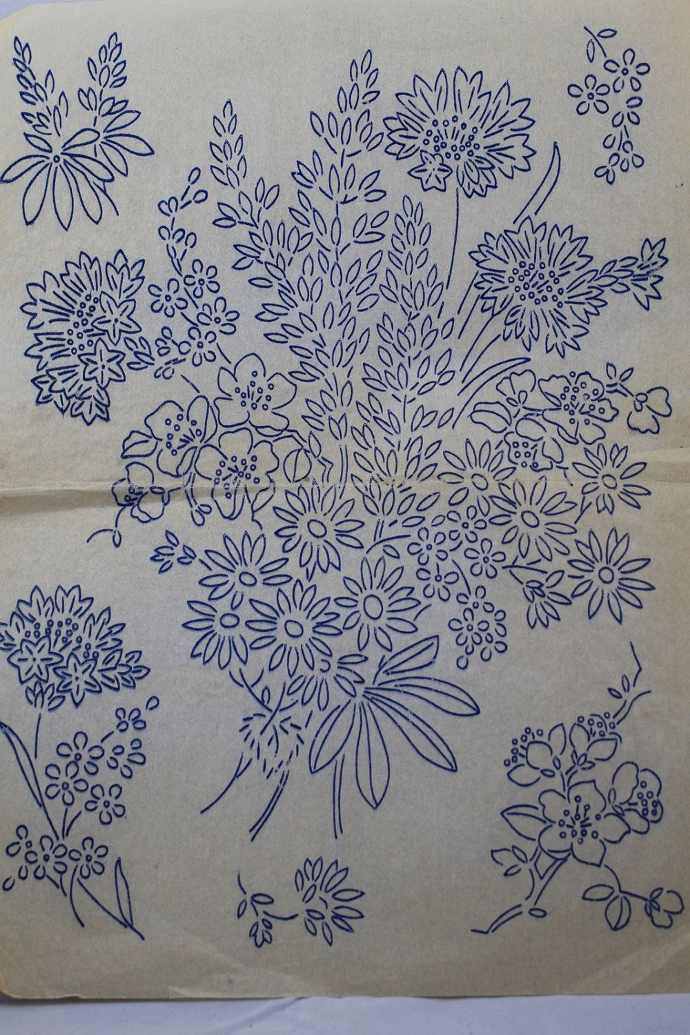 Vintage ironon embroidery transfer of a bouquet of flowers by