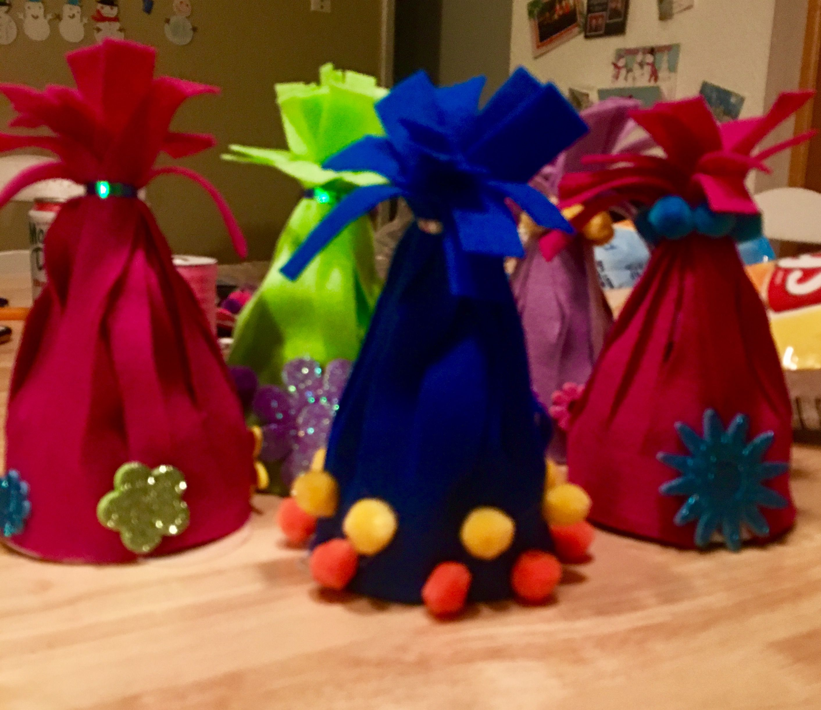 """Trolls theme birthday party troll hair hats - have the kids decorate their own troll inspired """"hair""""!"""