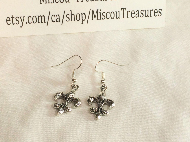 Silver flower earrings fleur de lis unique handmade earrings for fleur de lis earrings silver dangle earrings french royalty french symbol fleur biocorpaavc Gallery