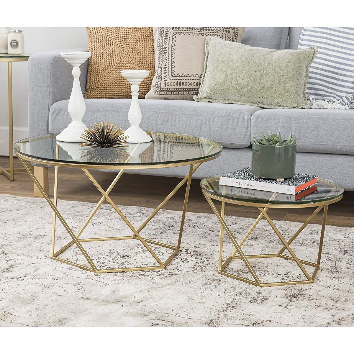We Furniture Geometric Glass Nesting Coffee Tables Gold Glass Gold Nesting Coffee Tables Gold Coffee Table Coffee Table