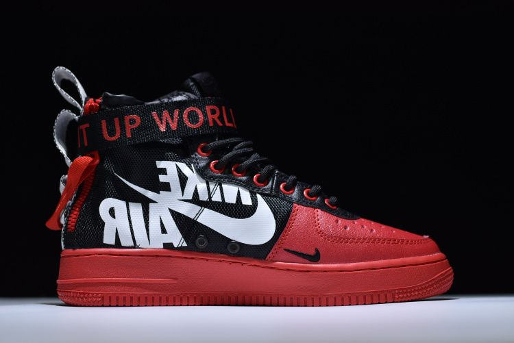 nike lunar air force 1 high red and white blood