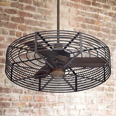 32 Quot Vintage Breeze Bronze Black Cage Ceiling Fan Decor