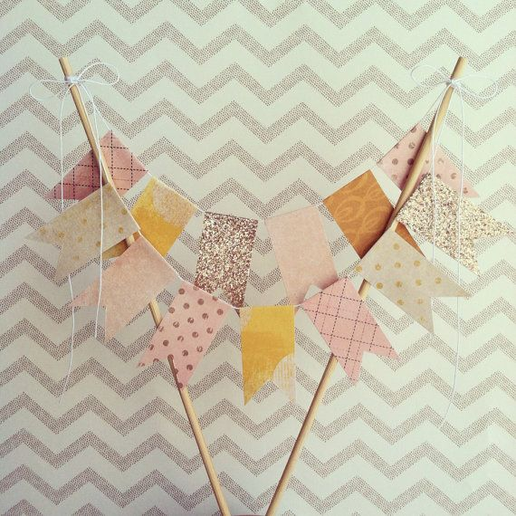 Pink lemonade Bubbly Bunting Wedding Cake Topper ///Ready To Ship/// on Etsy, $17.00