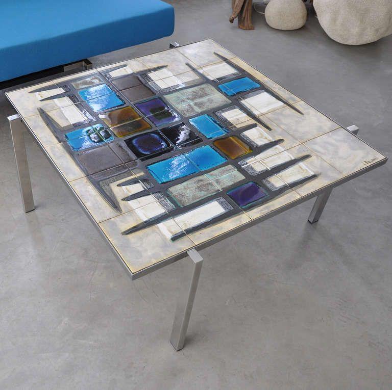 Beautiful Coffee Table By Belgian Artist Juliette Belarti Anno 1950