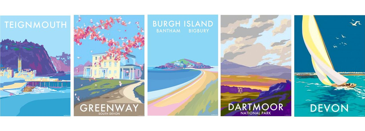 North Devon Art Deco Travel Posters Lovely  Retro Holiday Tourism Putsborough