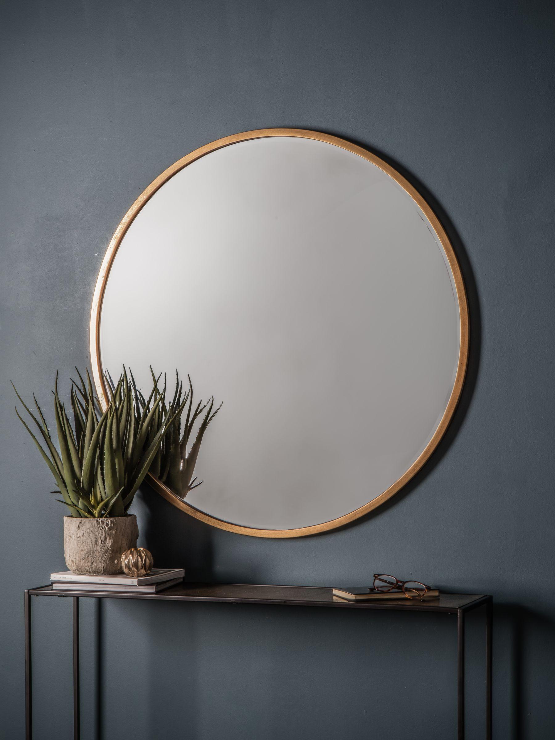 Cade Round Mirror, Antique Gold in 2020 Round gold