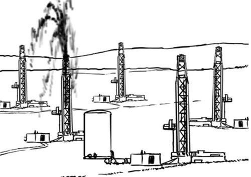 Dibujo para colorear Combustibles fosiles, explotación