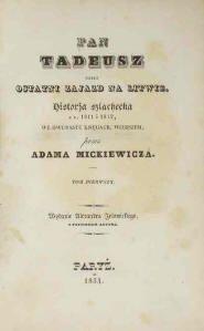 Pan Tadeusz A Novel Length Epic Poem By The Most Famous