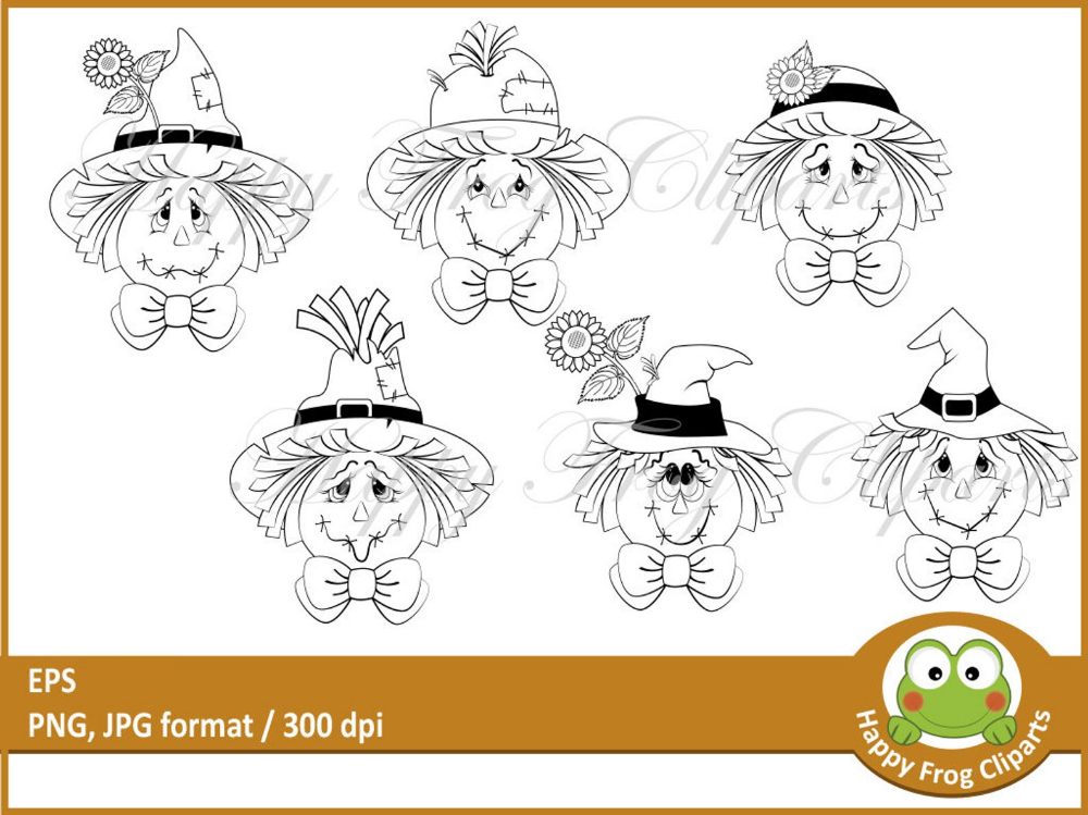 6 Scarecrows - HFC 046 - Scarecrow faces, Digital stamp ...