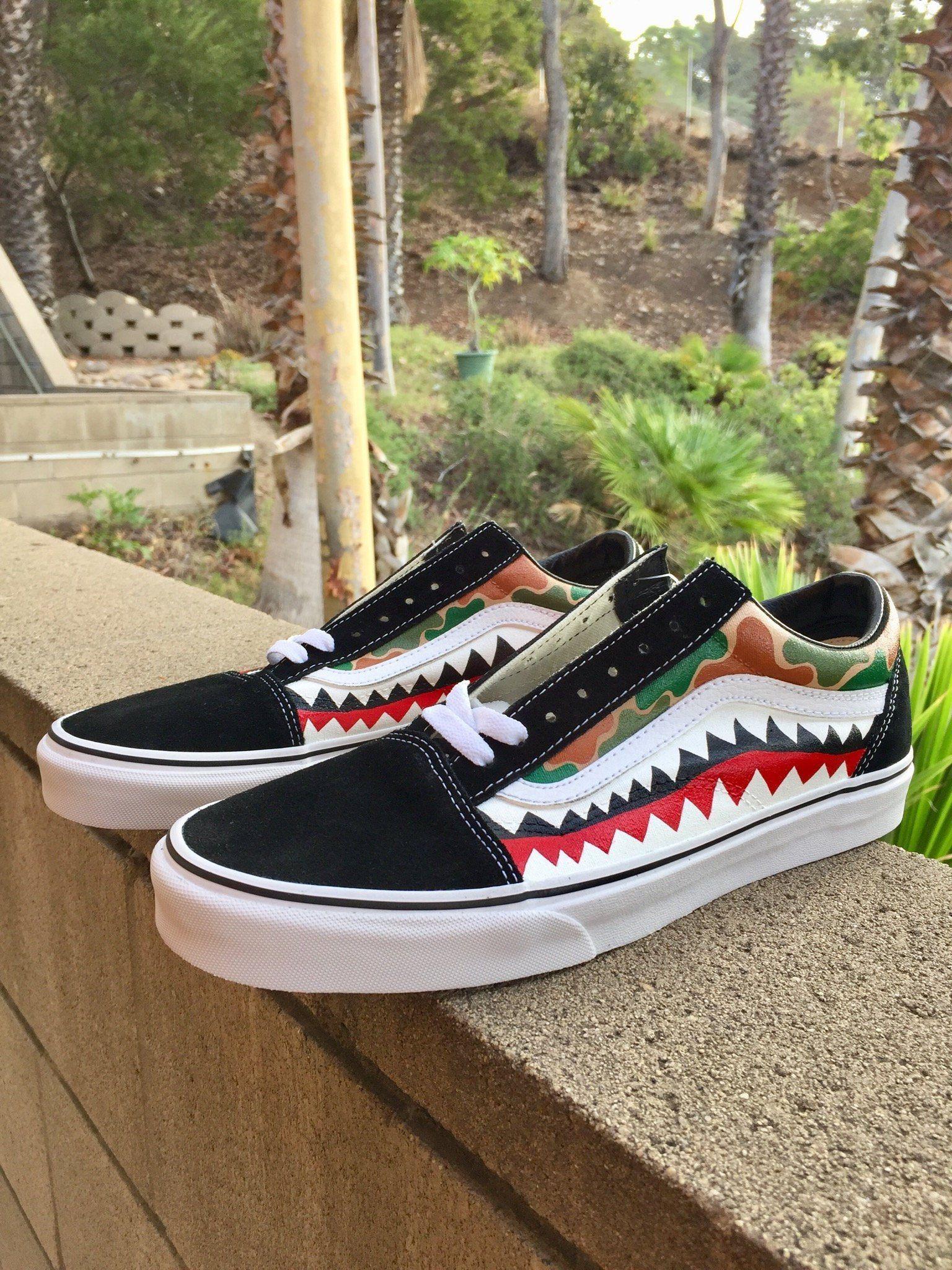 Camouflage Bape Teeth Vans Customs Custom Vans Shoes Vans Old Skool Custom Sneakers Men Fashion