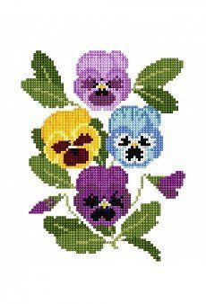 grafico punto de cruz gratis en pdf para bordar flores violetas