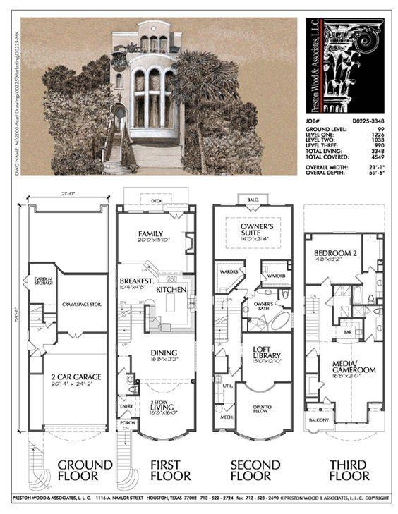 3 1 2 Story Townhouse Plan D0225 Home Design Floor Plans Row House Design Architectural Floor Plans