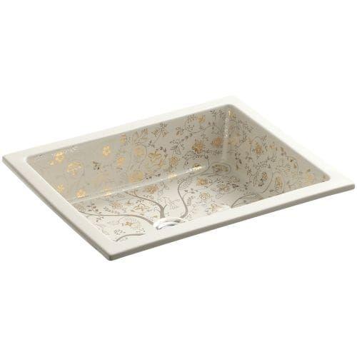 "Kohler K-14275-T9 Artist Editions Mille Fleurs Design on Kathryn 6-1/4 x 19-3/4"" x 15-5/8"" Undercounter Bathroom Sink - almond (Brown)"