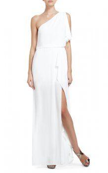 b00bc69a3f BCBG White Kendal One-Shoulder Ruffle Slit Evening Dress