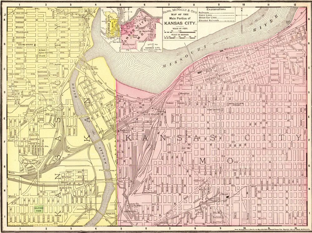 Details about 1900 Antique KANSAS CITY Map Vintage Map of Kansas
