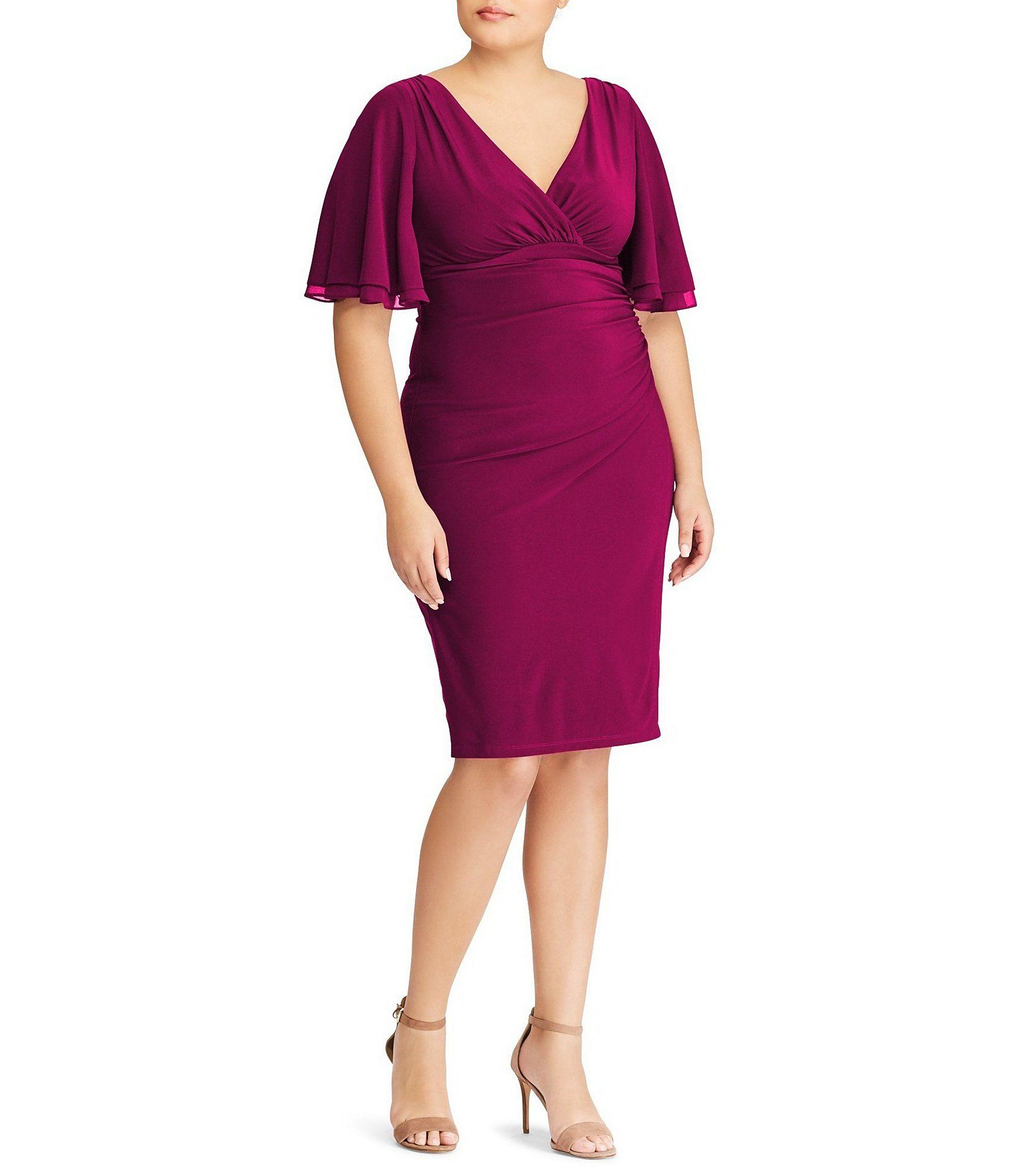 Lauren Ralph Lauren Plus Size Jersey Flutter Bell Sleeve Dress ...