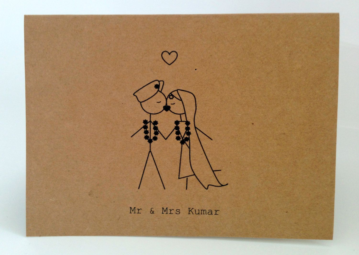 20 Customised Traditional Indian Wedding Engagement Thank You Cards Invitations Kissing Mr Mrs Stick Figures Printed 21 00 Via Etsy