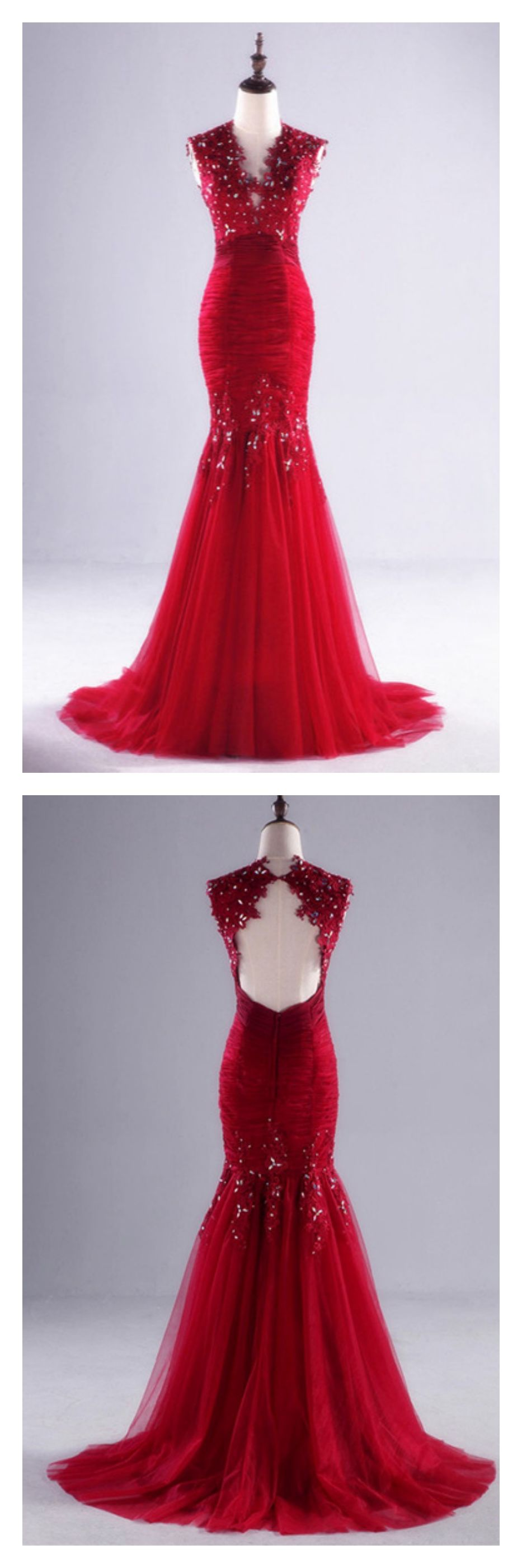 Red applique long mermaid prom dresses evening dresses ed