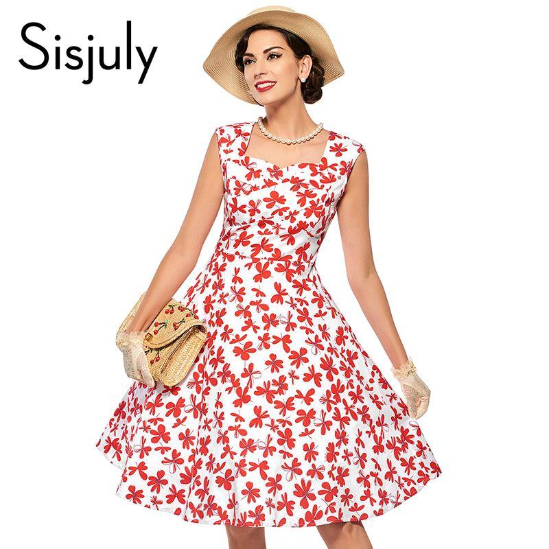 Sisjuly 1950 s de la vendimia del otoño dress con estampado floral ...